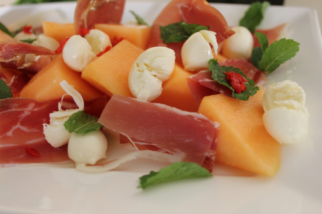 Rockmelon and prosciutto salad