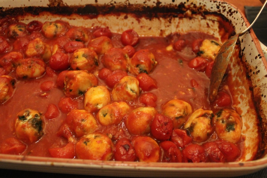 Ricotta and kale gnocchi with roasted tomato sauce
