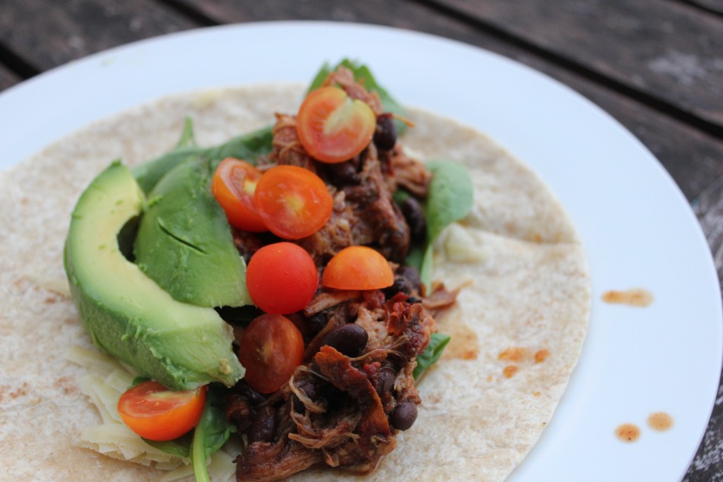 Slow cooked Mexican pulled pork with black beans