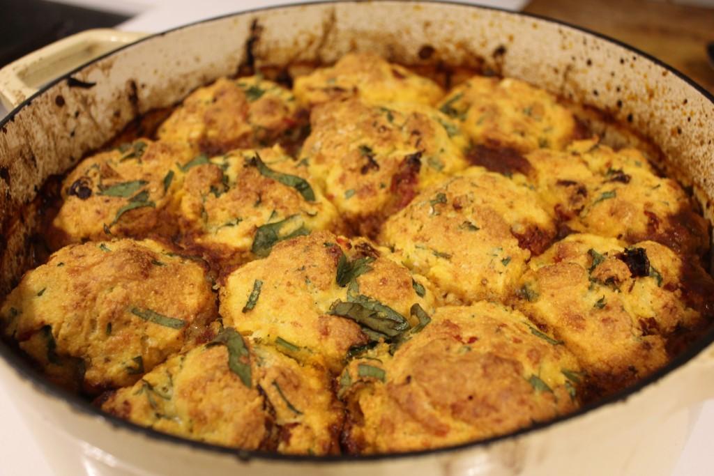 Chilli con carne with coriander cornbread