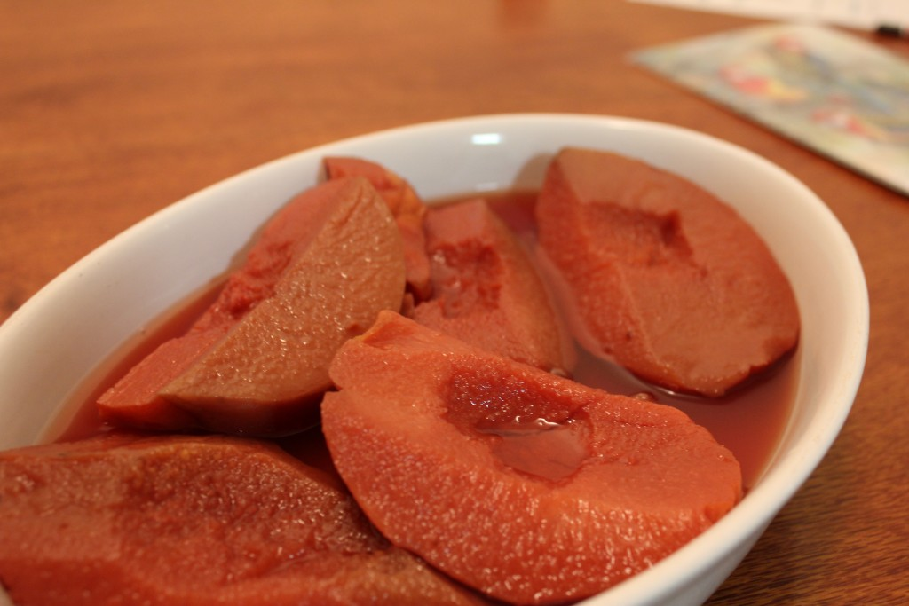 Oven poached quinces