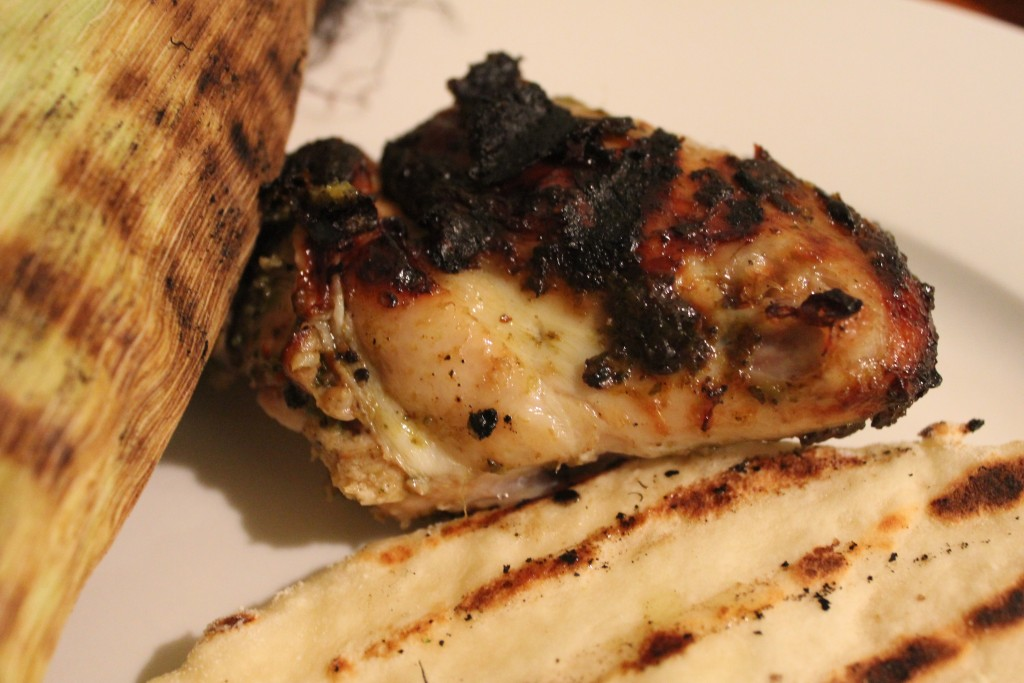 Jerk chicken and home made flat bread