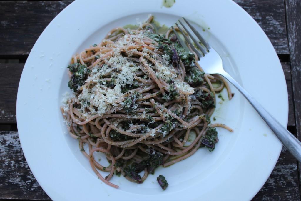 Beetroot leaf and basil pesto pasta