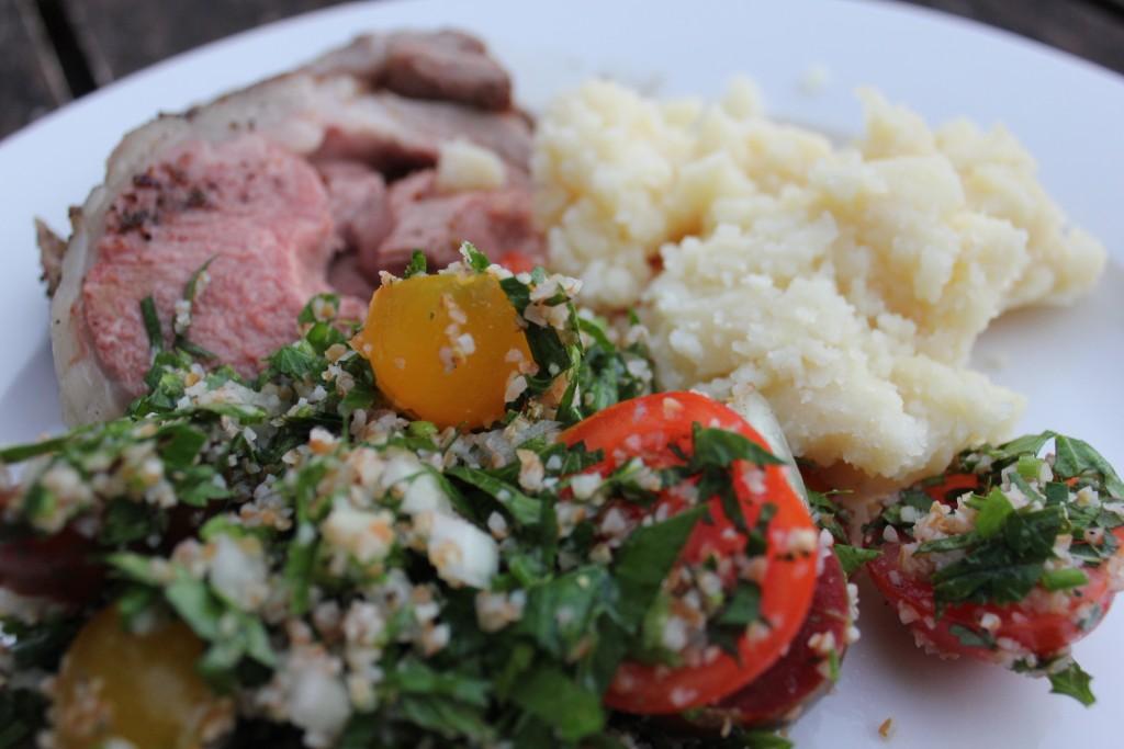 Za'atar and sumac marinated lamb with skordalia and tabbouleh