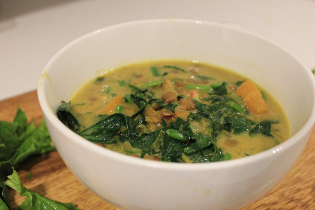 Coconut, pumpkin, spinach and lentil soup